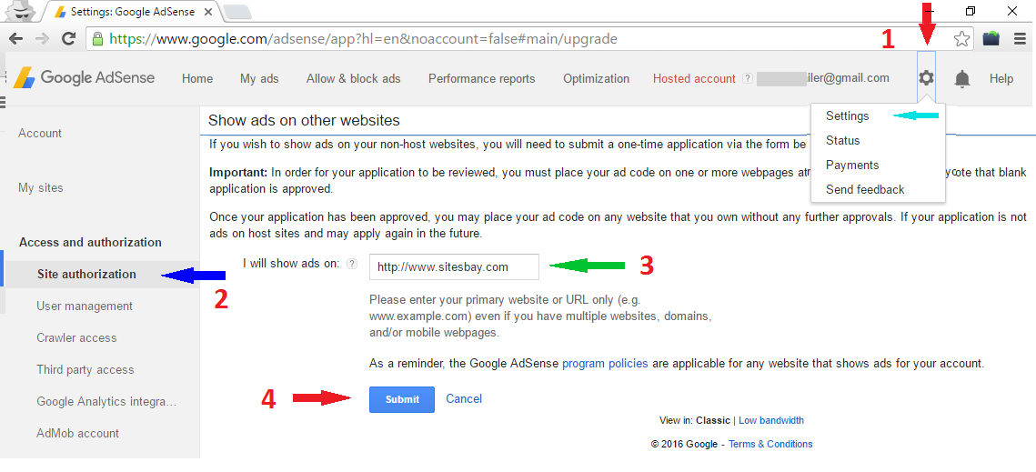convert adsense hosted account to non-hosted account