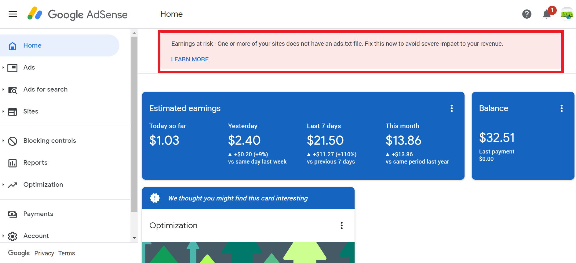 fix earning at risk warning in adsense