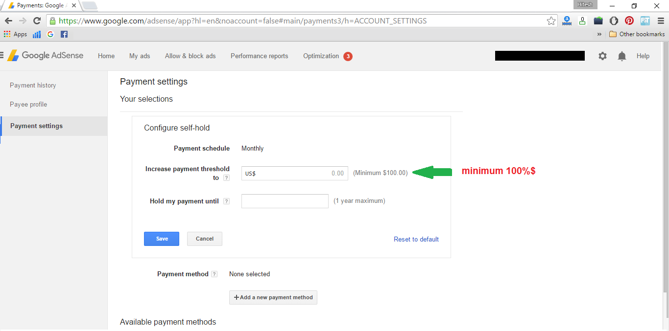 adsense minimum payout