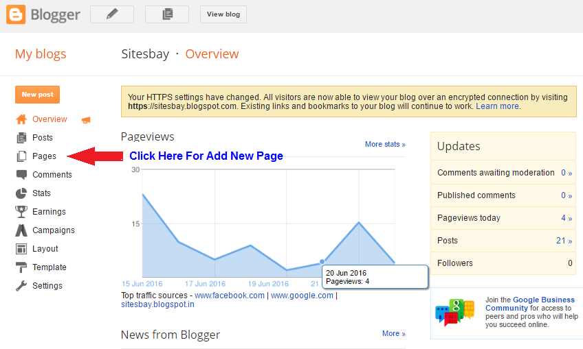 how to add new page blog