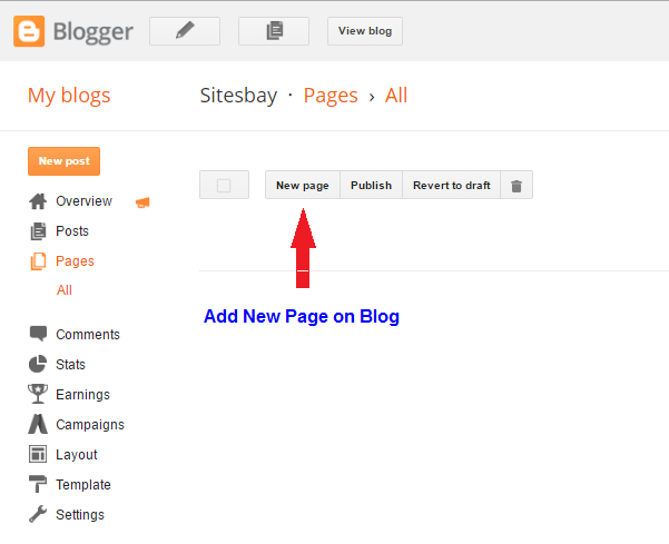 add new page on blog