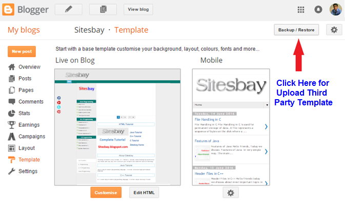 upload template on blog