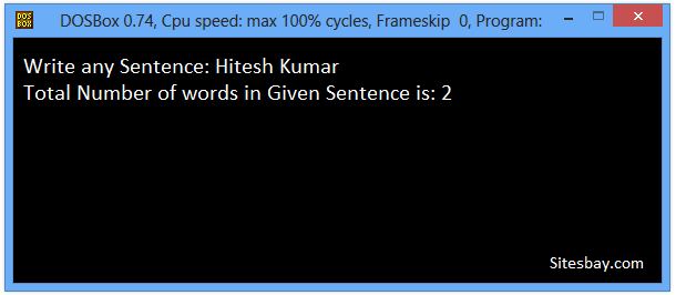 c++ program to find number of words in given sentence