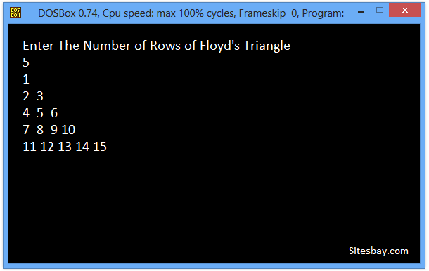 c++ program to print floyd triangle