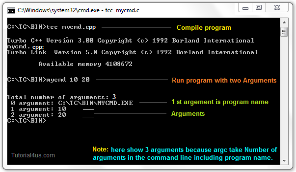 compile and run command line arguments program