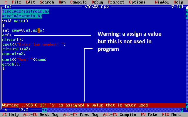 Warning in c++