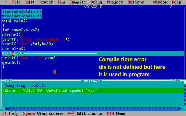 Compile time error