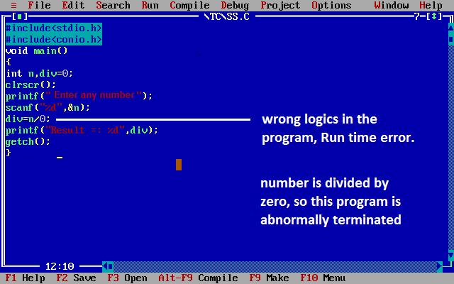 error in c