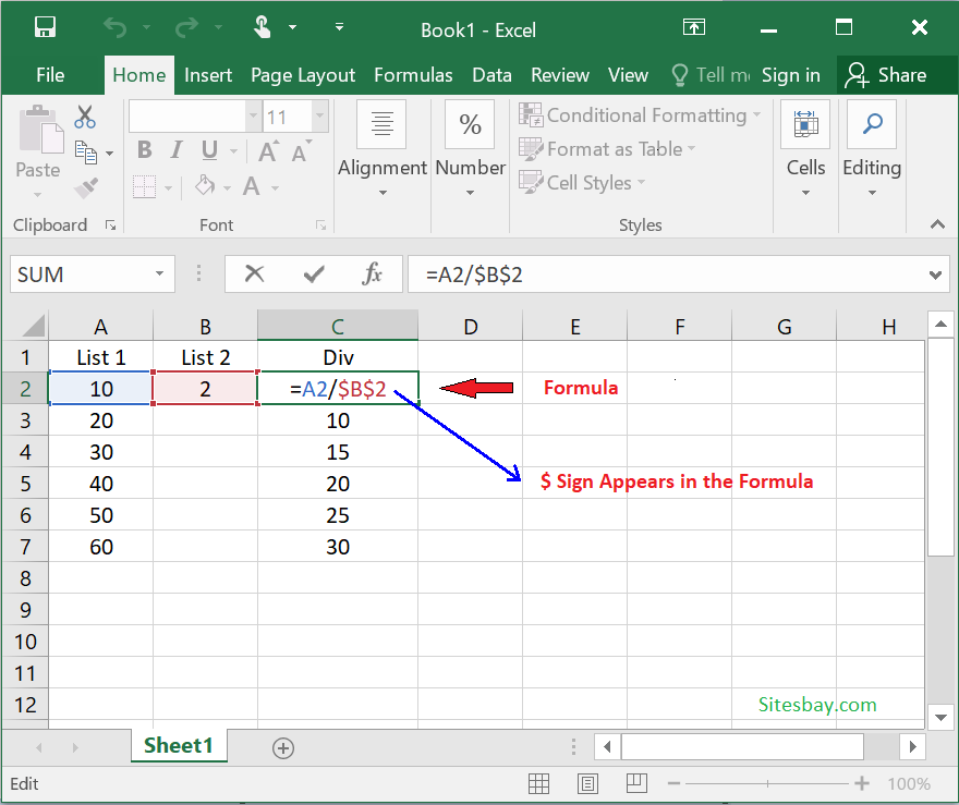 absolute referencing in excel