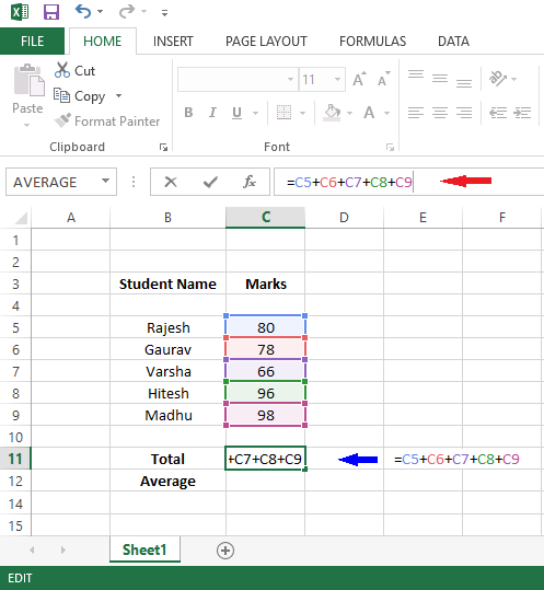 create foumula in excel