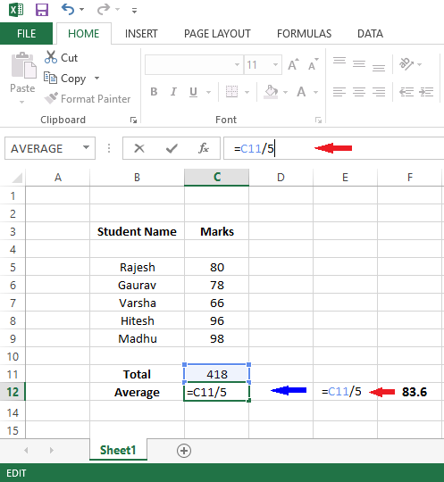 create formula in excel