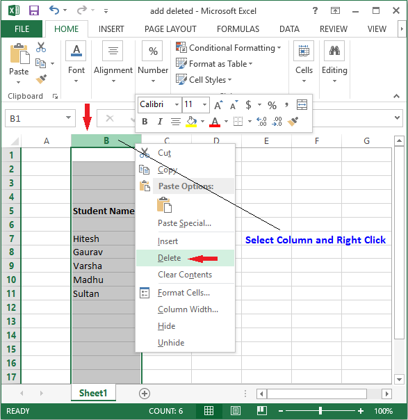 delete column in excel