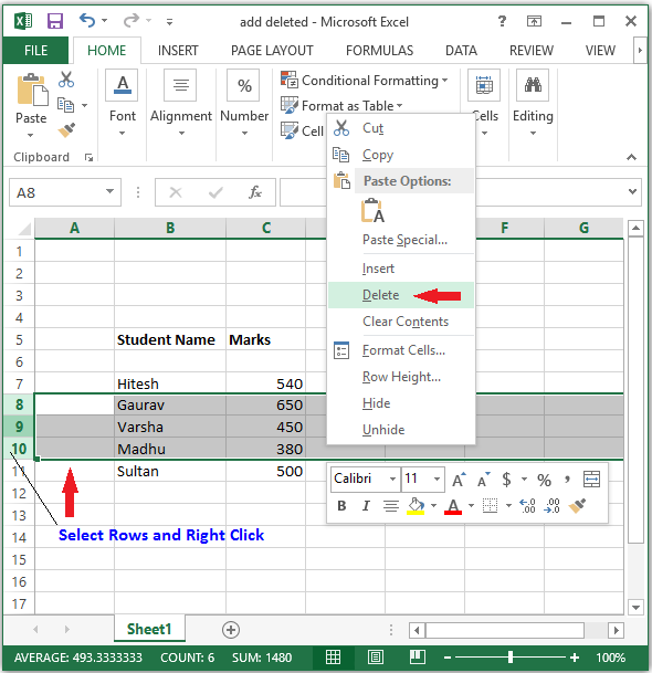 delete row in excel