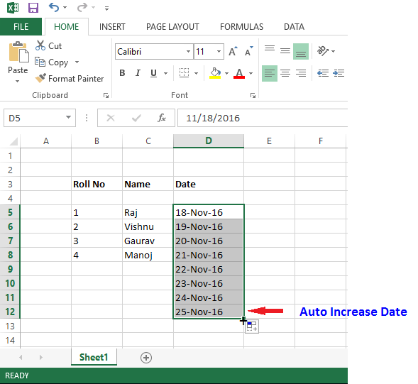 fill handle with date in excel
