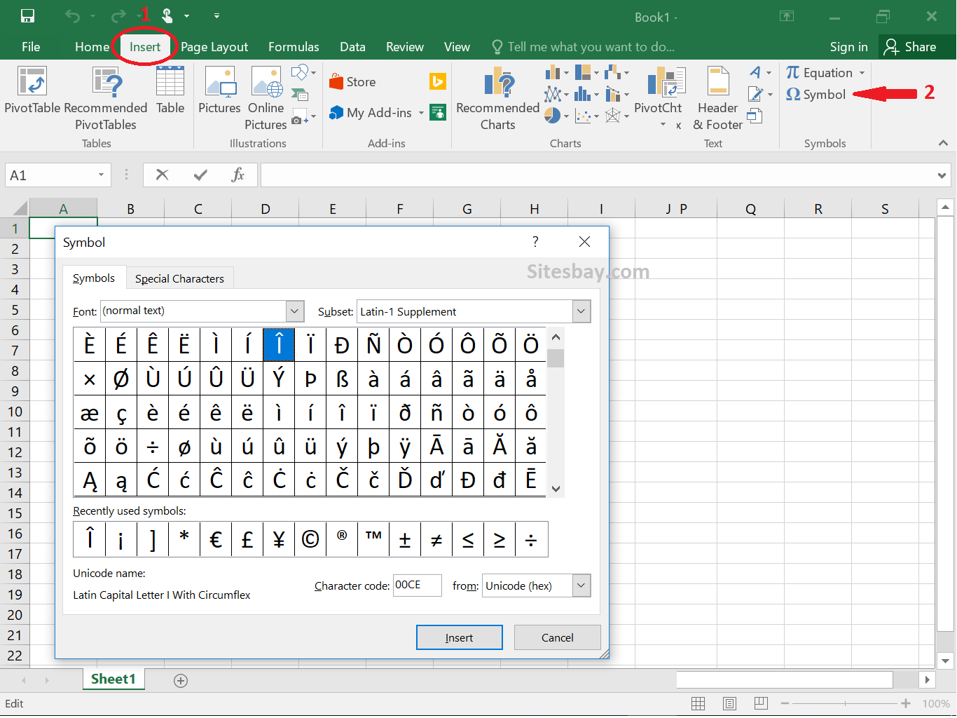 how to insert symbol in excel