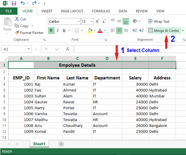 merge cell in excel
