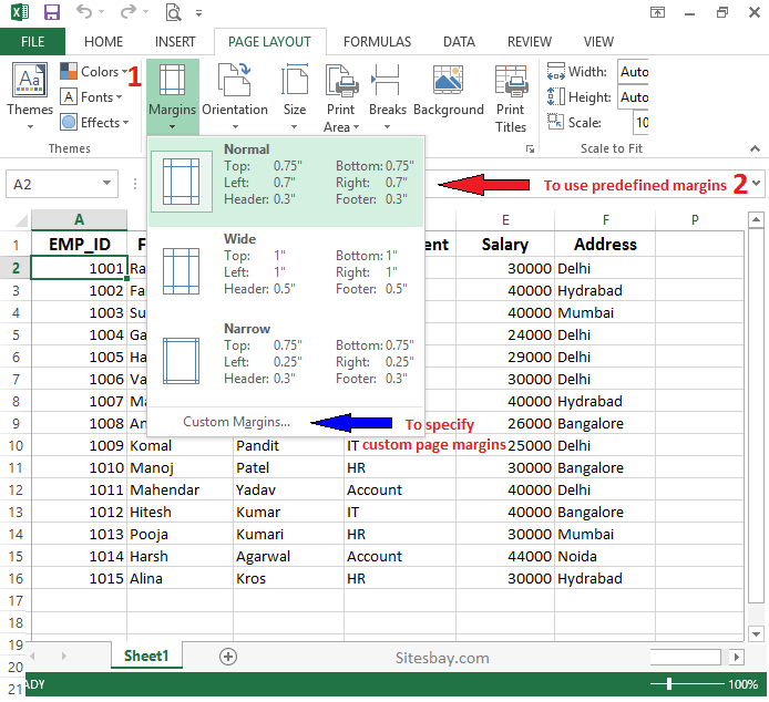 how to set page margins in excel