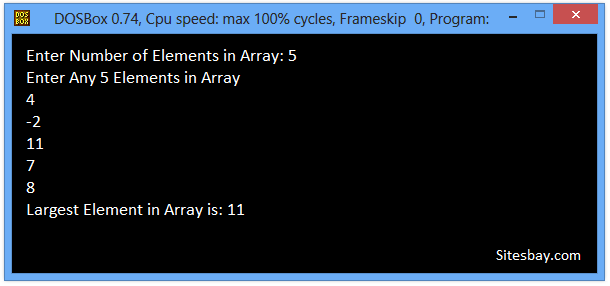 c program to find largest elements form array