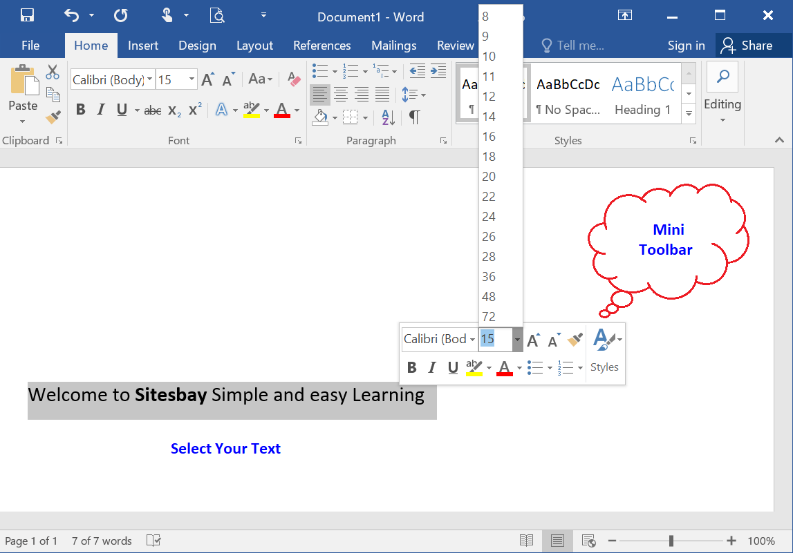 change font size using mini toolbar in word