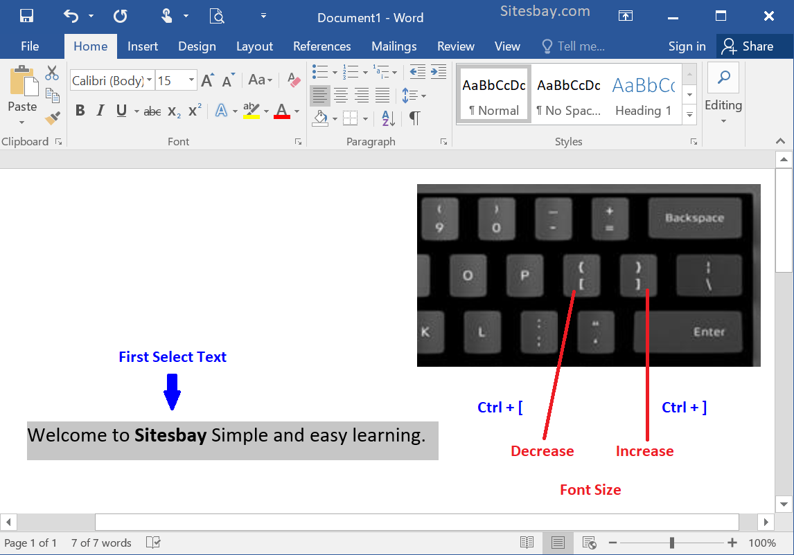 shortcut to change font size in word