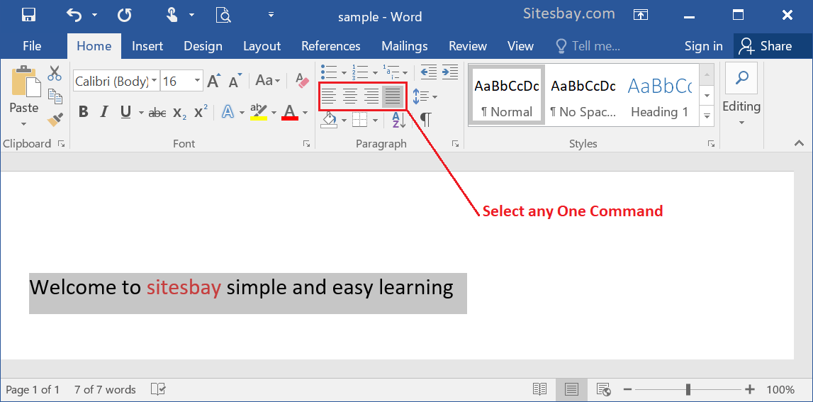 change text alignment in word