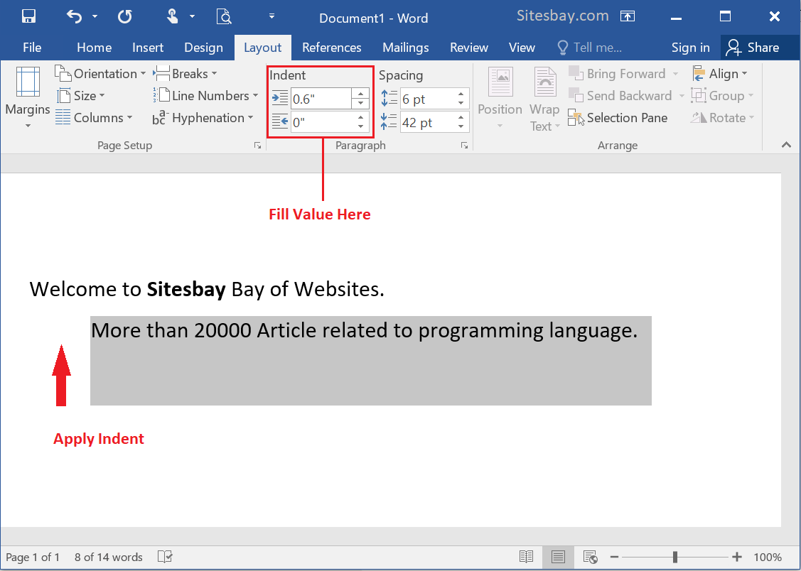 create line indent in word