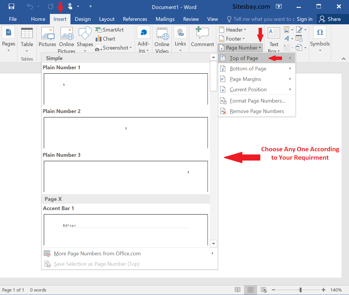 insert page number in word