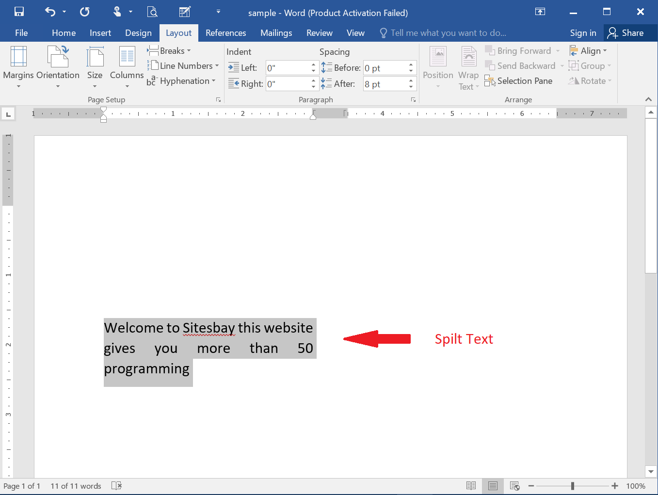 split text to column in word